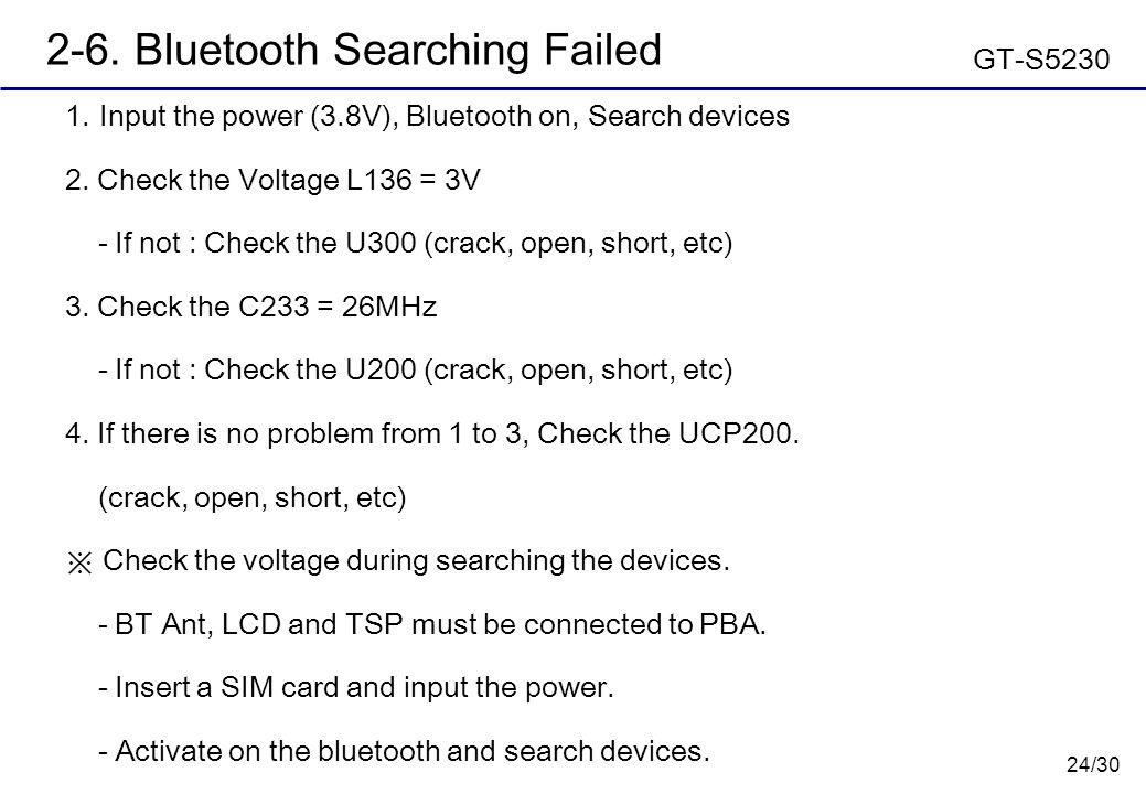 24/30 2-6.Bluetooth Searching Failed  Input the power (3.8V), Bluetooth on, Search devices 2.