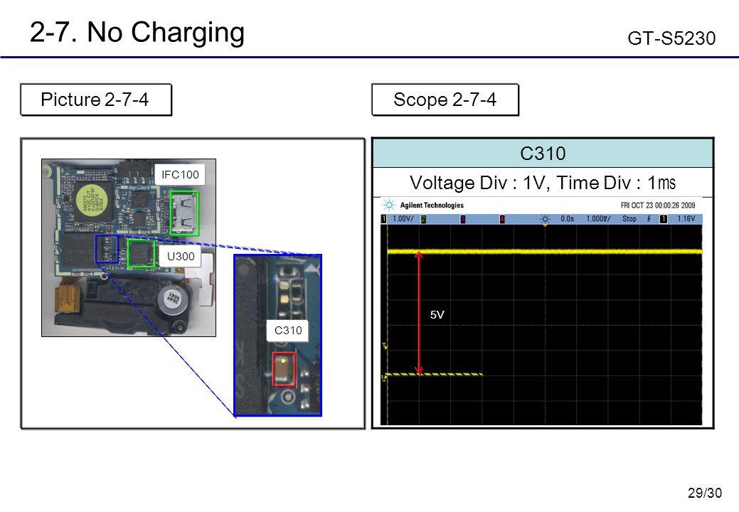 29/30 2-7. No Charging GT-S5230 Picture 2-7-4 C310 Voltage Div : 1V, Time Div : 1 ㎳ Scope 2-7-4 U300 IFC100 ● C310 5V