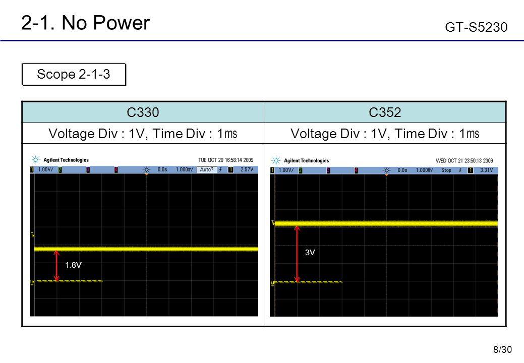 8/30 2-1. No Power GT-S5230 C330C352 Voltage Div : 1V, Time Div : 1 ㎳ Scope 2-1-3 1.8V 3V