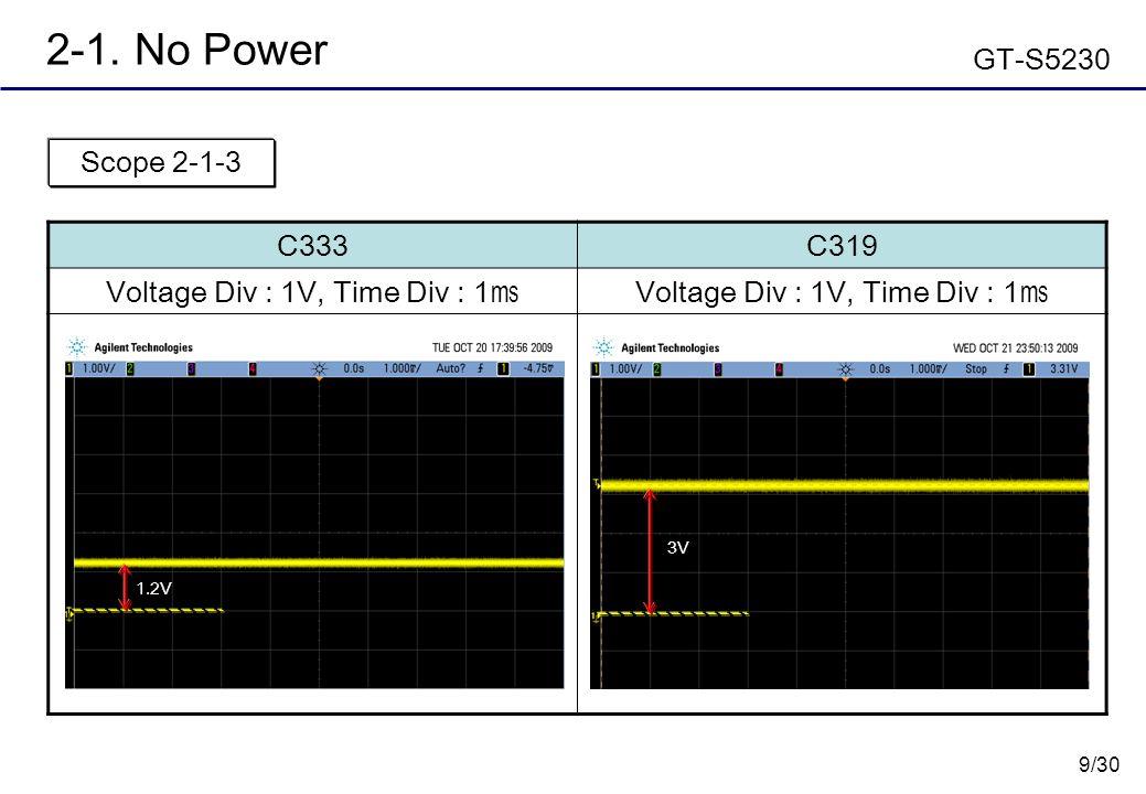 9/30 2-1. No Power GT-S5230 C333C319 Voltage Div : 1V, Time Div : 1 ㎳ Scope 2-1-3 3V 1.2V