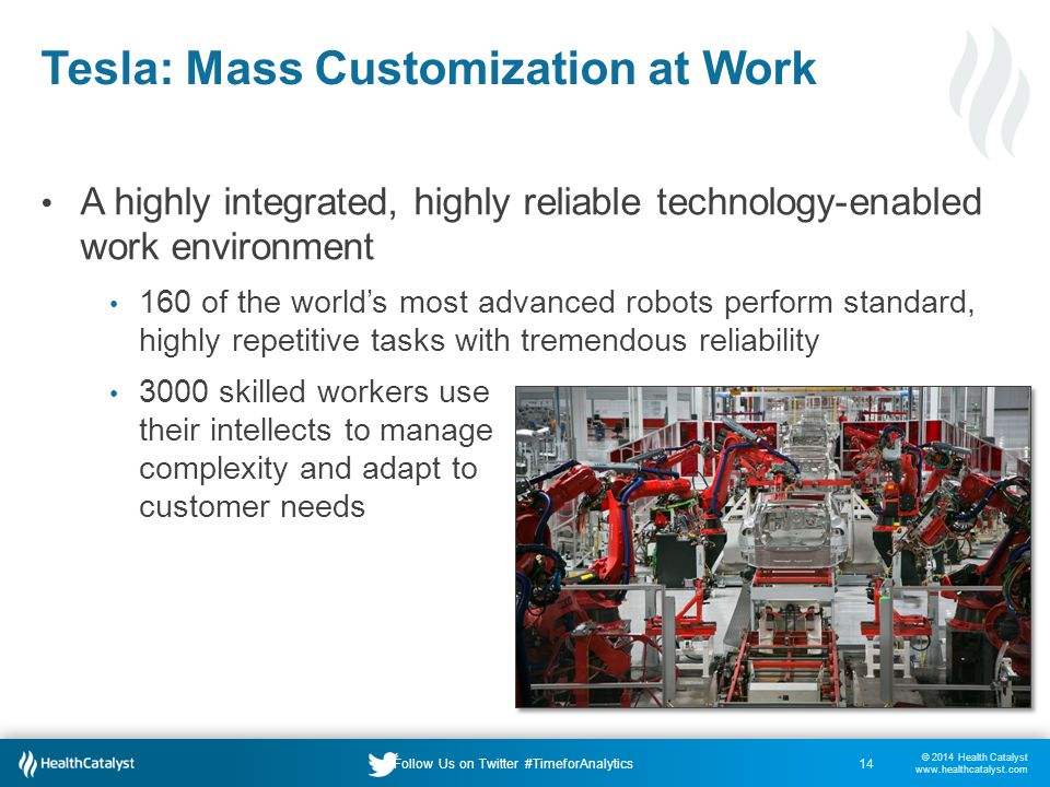 © 2014 Health Catalyst www.healthcatalyst.com Follow Us on Twitter #TimeforAnalytics Tesla: Mass Customization at Work 14 A highly integrated, highly reliable technology-enabled work environment 160 of the world's most advanced robots perform standard, highly repetitive tasks with tremendous reliability 3000 skilled workers use their intellects to manage complexity and adapt to customer needs