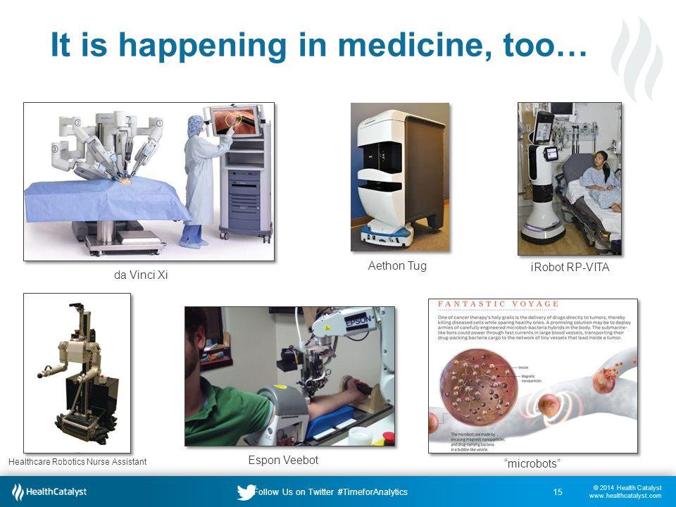 © 2014 Health Catalyst www.healthcatalyst.com Follow Us on Twitter #TimeforAnalytics It is happening in medicine, too… 15 da Vinci Xi Aethon Tug iRobot RP-VITA Healthcare Robotics Nurse Assistant Espon Veebot microbots