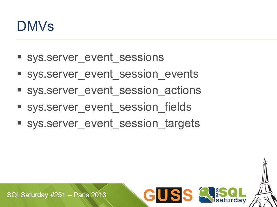 SQLSaturday #251 – Paris 2013 DMVs  sys.server_event_sessions  sys.server_event_session_events  sys.server_event_session_actions  sys.server_event