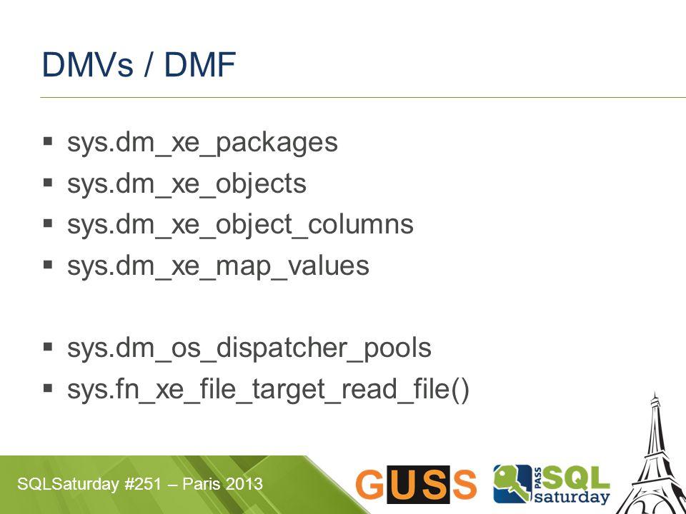 SQLSaturday #251 – Paris 2013 DMVs / DMF  sys.dm_xe_packages  sys.dm_xe_objects  sys.dm_xe_object_columns  sys.dm_xe_map_values  sys.dm_os_dispat