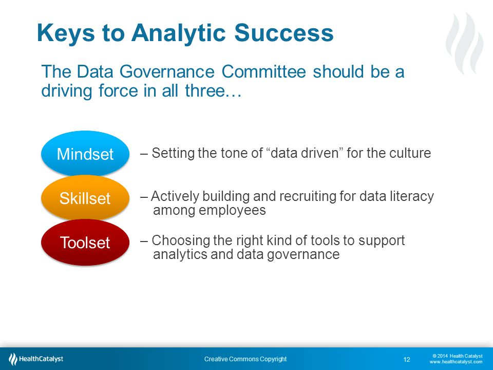 © 2014 Health Catalyst www.healthcatalyst.com Creative Commons Copyright Keys to Analytic Success The Data Governance Committee should be a driving force in all three… – Setting the tone of data driven for the culture – Actively building and recruiting for data literacy among employees – Choosing the right kind of tools to support analytics and data governance Mindset Skillset Toolset 12