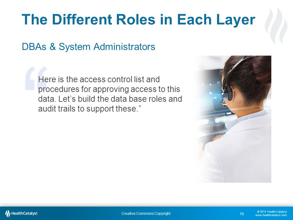 © 2014 Health Catalyst www.healthcatalyst.com Creative Commons Copyright The Different Roles in Each Layer DBAs & System Administrators Here is the access control list and procedures for approving access to this data.