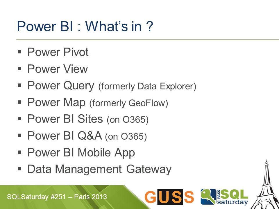 SQLSaturday #251 – Paris 2013 Power BI : What's in .