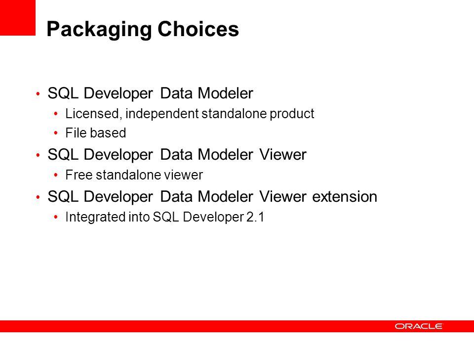 Packaging Choices SQL Developer Data Modeler Licensed, independent standalone product File based SQL Developer Data Modeler Viewer Free standalone vie