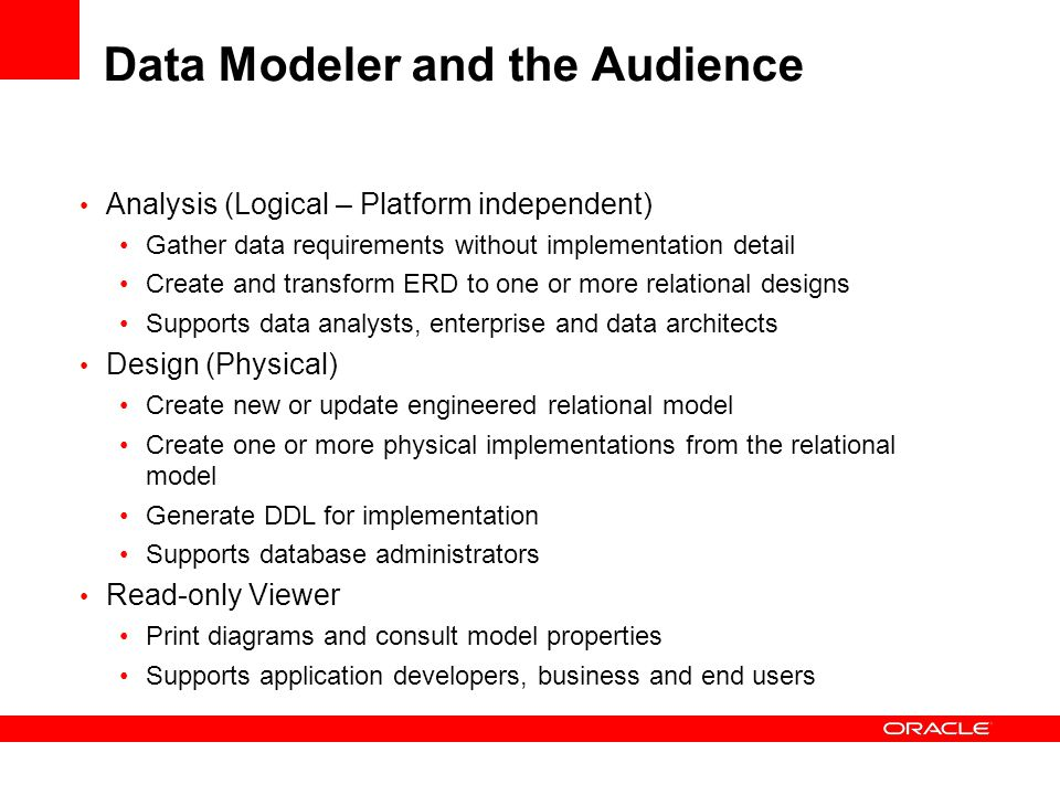 Controlling the Design Environment Selection of tools available Domain definition (data types) Name abbreviation in the relational model (Customer to CUST) Compare and merge facilities Design Rules Tools Options Naming standards Specify default database Controlling constraints Physical properties Notations (Barker, Bachman)