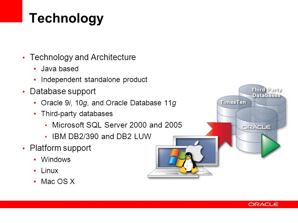 Technology Technology and Architecture Java based Independent standalone product Database support Oracle 9i, 10g, and Oracle Database 11g Third-party