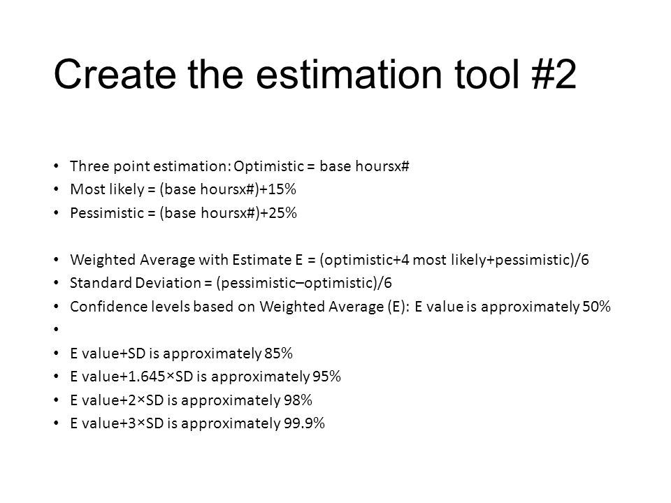 Create the estimation tool #2 Three point estimation: Optimistic = base hoursx# Most likely = (base hoursx#)+15% Pessimistic = (base hoursx#)+25% Weig