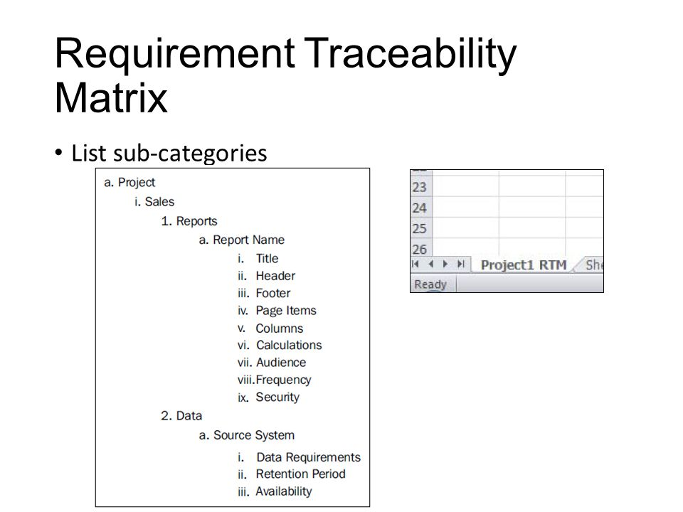Requirement Traceability Matrix List sub-categories