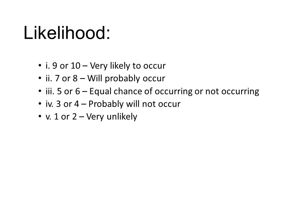 Likelihood: i. 9 or 10 – Very likely to occur ii.