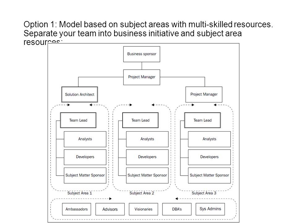 Option 1: Model based on subject areas with multi-skilled resources. Separate your team into business initiative and subject area resources: