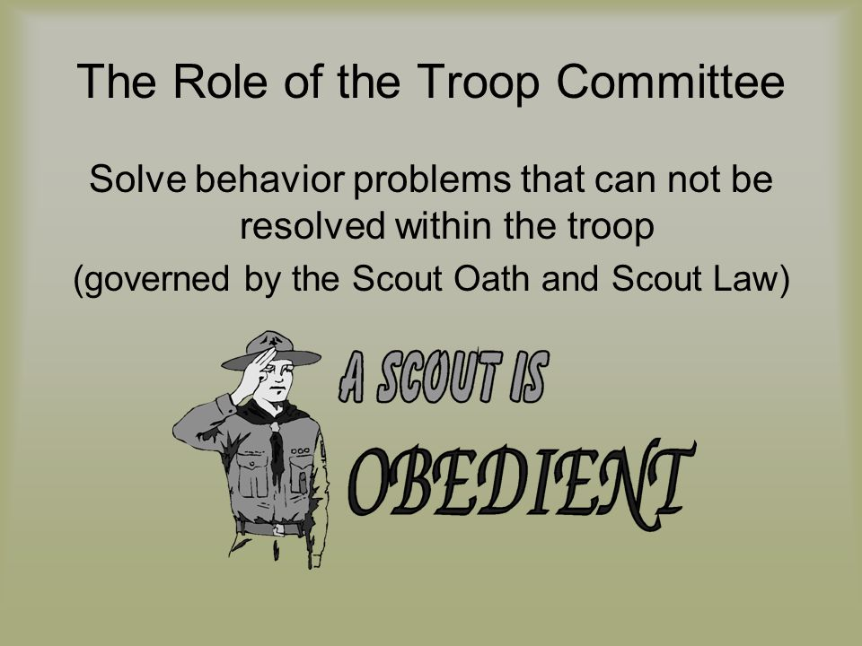 The Role of the Troop Committee Solve behavior problems that can not be resolved within the troop (governed by the Scout Oath and Scout Law)