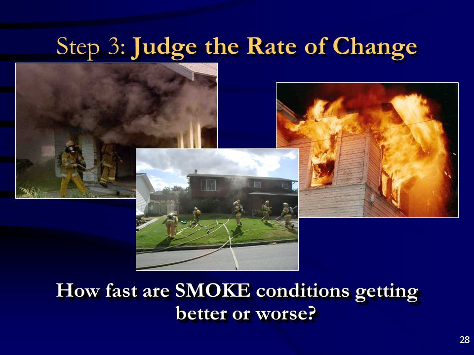 28 Step 3: Judge the Rate of Change How fast are SMOKE conditions getting better or worse?