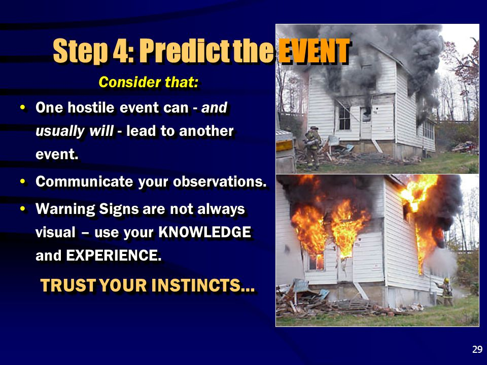 29 Step 4: Predict the EVENT Consider that: One hostile event can - and usually will - lead to another event.One hostile event can - and usually will