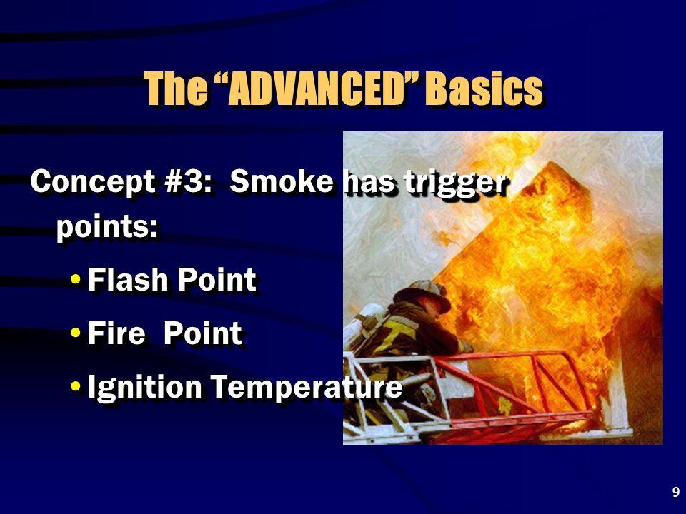 "9 The ""ADVANCED"" Basics Concept #3: Smoke has trigger points: Flash PointFlash Point Fire PointFire Point Ignition TemperatureIgnition Temperature Con"