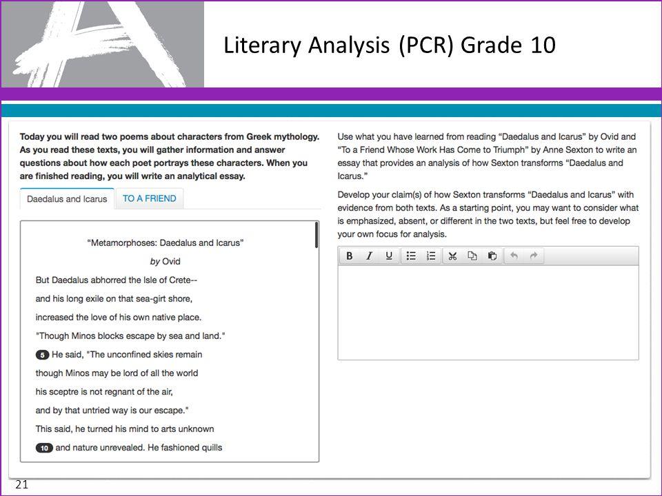 Literary Analysis (PCR) Grade 10 21