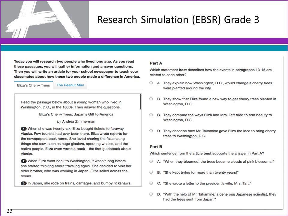 Research Simulation (EBSR) Grade 3 23