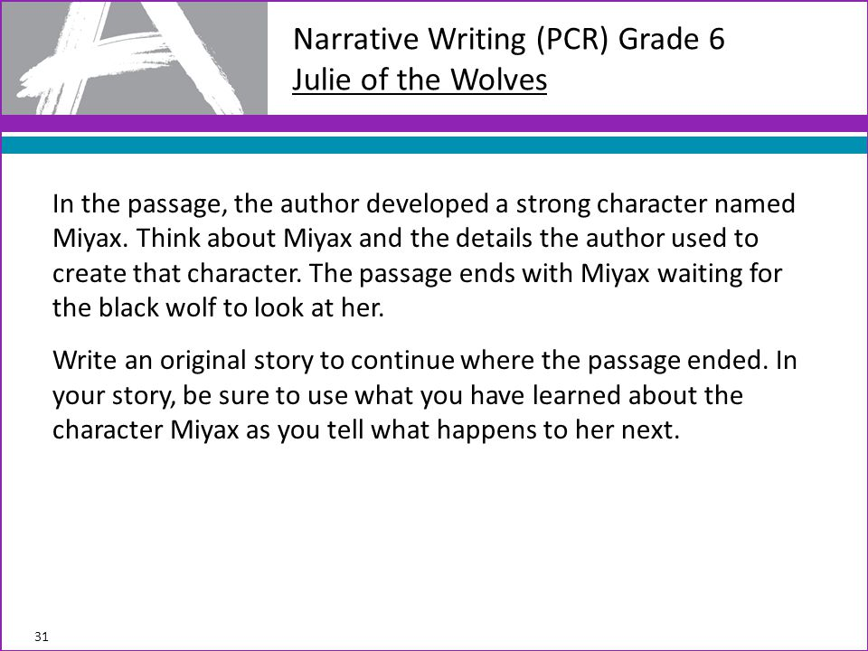 Narrative Writing (PCR) Grade 6 Julie of the Wolves In the passage, the author developed a strong character named Miyax. Think about Miyax and the det