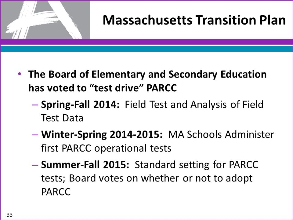 """Massachusetts Transition Plan The Board of Elementary and Secondary Education has voted to """"test drive"""" PARCC – Spring-Fall 2014: Field Test and Analy"""