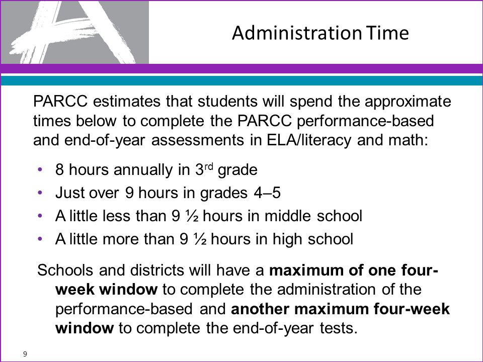 Administration Time PARCC estimates that students will spend the approximate times below to complete the PARCC performance-based and end-of-year asses