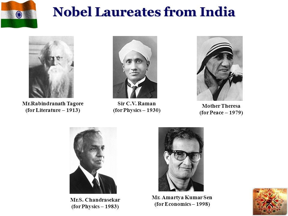 Nobel Laureates from India Mother Theresa (for Peace – 1979) Mr. Amartya Kumar Sen (for Economics – 1998) Mr.Rabindranath Tagore (for Literature – 191