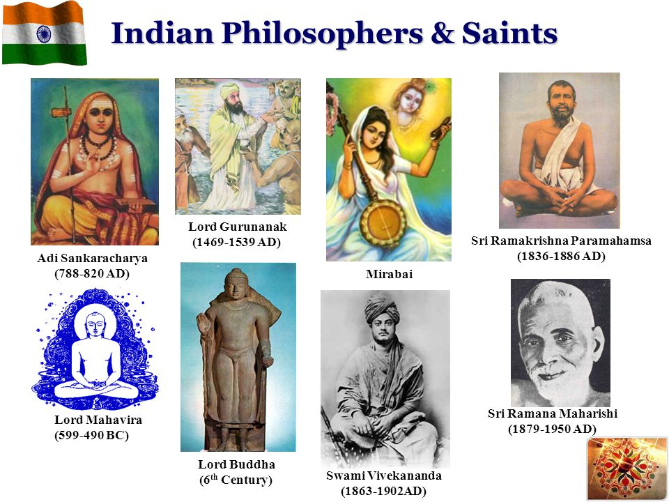 Indian Philosophers & Saints Lord Buddha (6 th Century) Lord Mahavira (599-490 BC) Lord Gurunanak (1469-1539 AD) Swami Vivekananda (1863-1902AD) Mirab