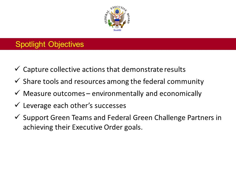 Next Steps for Sub-team Sustainability Task Group serves as clearinghouse for regional sustainability stories, and provides support, information, tools and resources for Federal Agencies in the community.