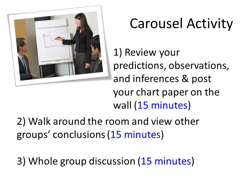 Carousel Activity 1) Review your predictions, observations, and inferences & post your chart paper on the wall (15 minutes) 2) Walk around the room and view other groups' conclusions (15 minutes) 3) Whole group discussion (15 minutes)