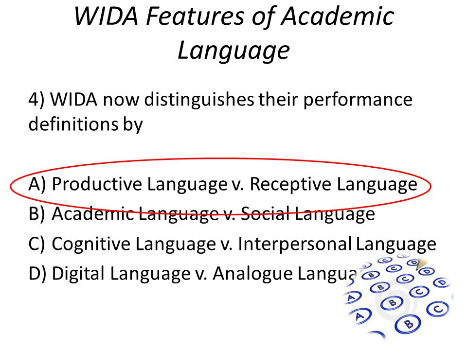 WIDA Features of Academic Language 4) WIDA now distinguishes their performance definitions by A)Productive Language v.