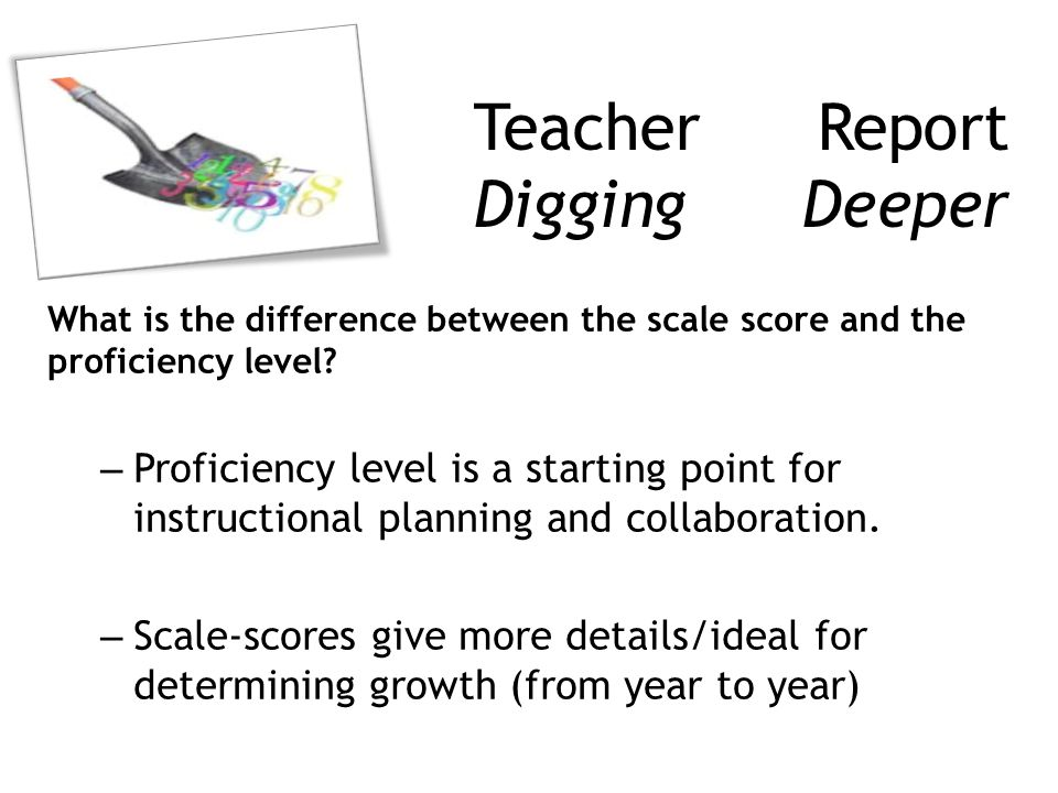 Teacher Report Digging Deeper What is the difference between the scale score and the proficiency level.
