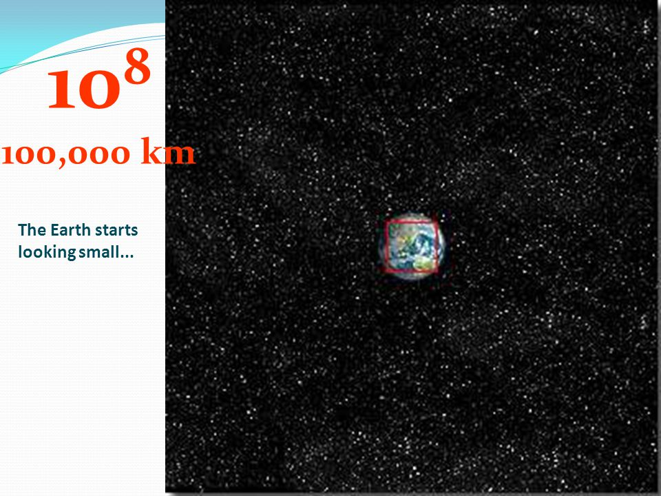 The Earth starts looking small... 10 8 100,000 km
