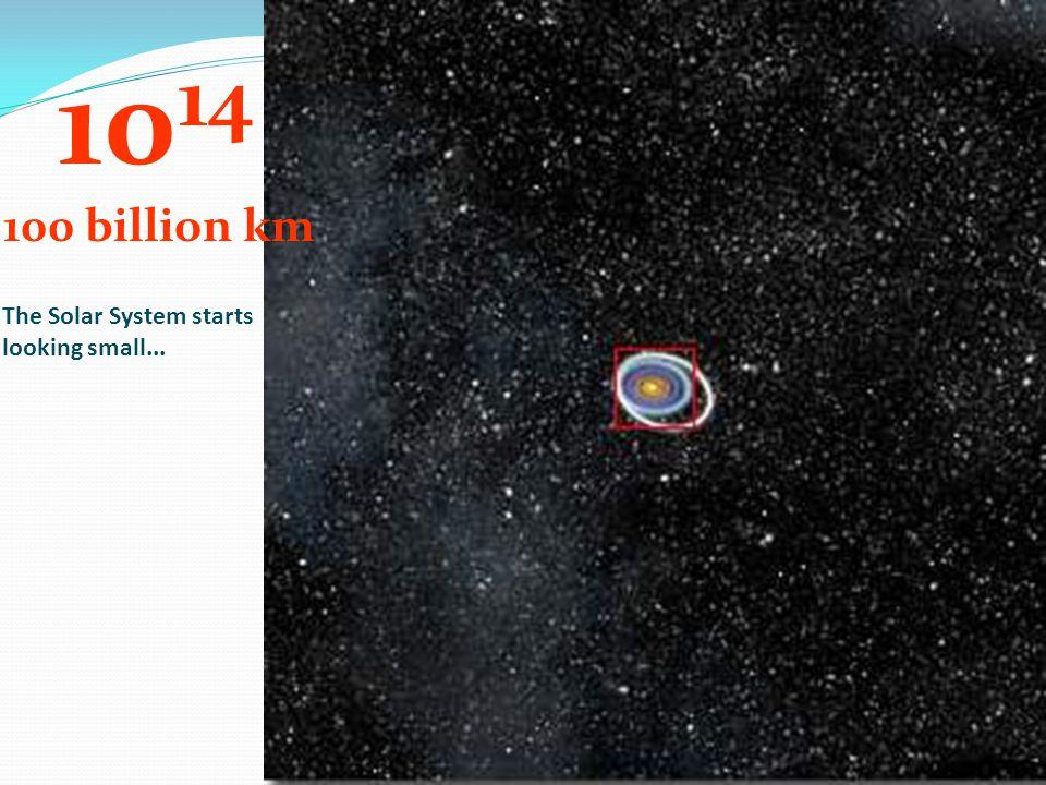 10 14 100 billion km The Solar System starts looking small...