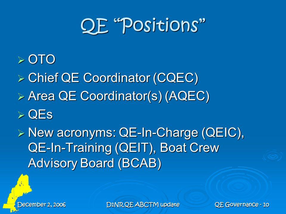 "December 2, 2006D1NR QE ABCTM updateQE Governance - 10 QE ""Positions""  OTO  Chief QE Coordinator (CQEC)  Area QE Coordinator(s) (AQEC)  QEs  New"