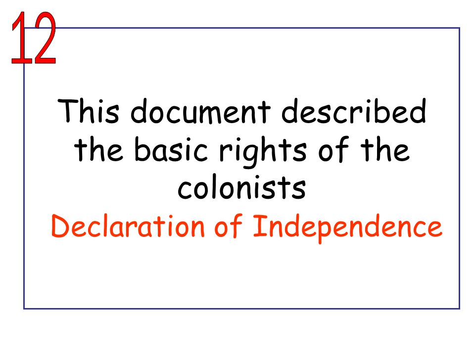 This document described the basic rights of the colonists Declaration of Independence