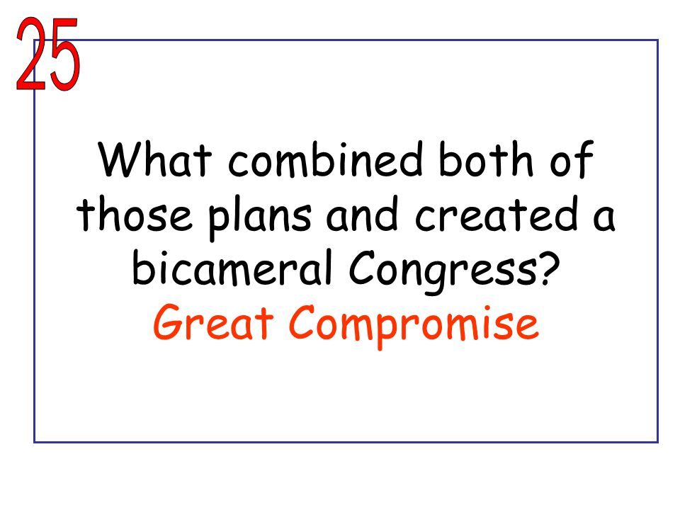 What combined both of those plans and created a bicameral Congress? Great Compromise