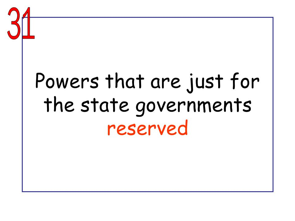 Powers that are just for the state governments reserved