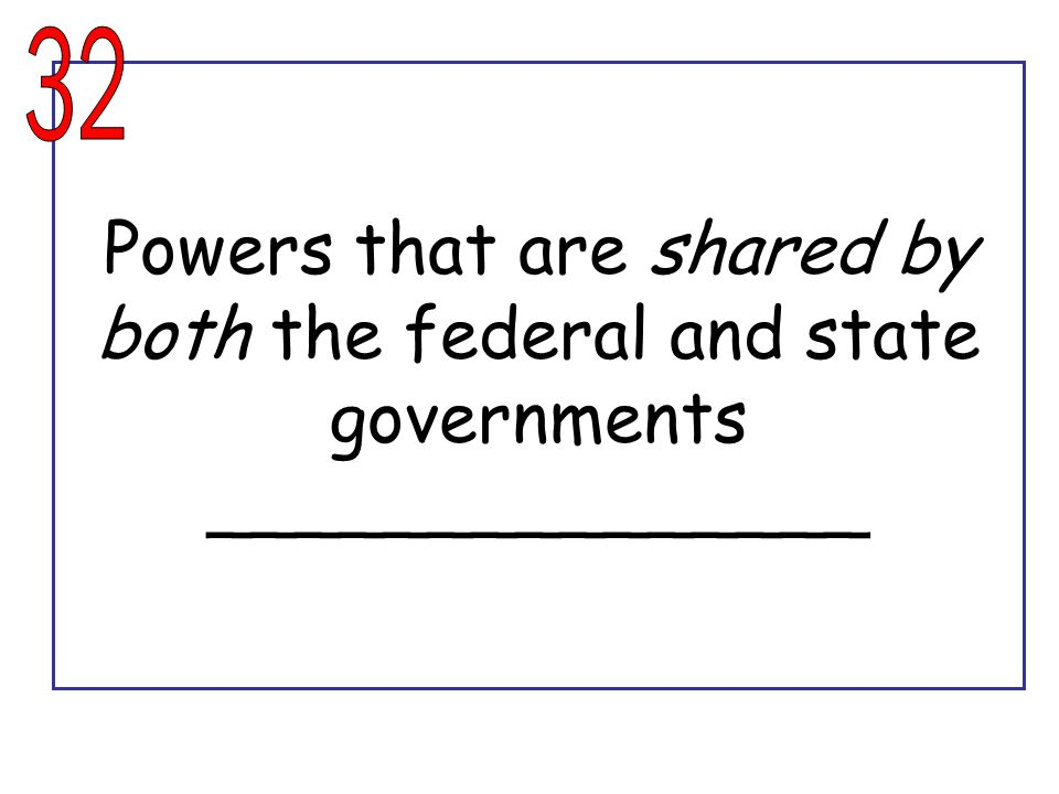 Powers that are shared by both the federal and state governments _______________