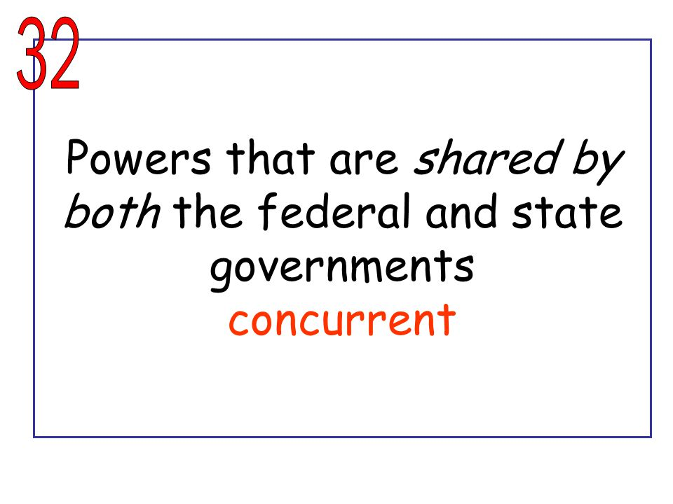 Powers that are shared by both the federal and state governments concurrent
