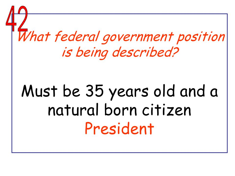 What federal government position is being described.