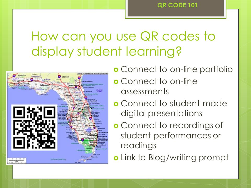 How can you use QR codes to display student learning.