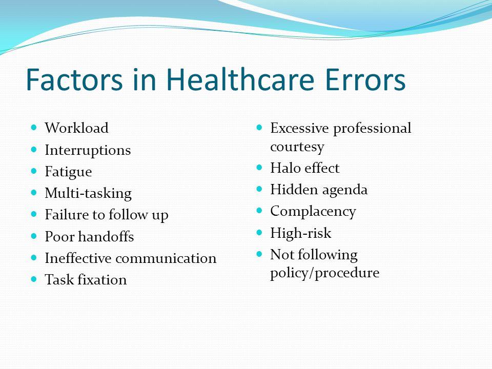 Factors in Healthcare Errors Workload Interruptions Fatigue Multi-tasking Failure to follow up Poor handoffs Ineffective communication Task fixation E