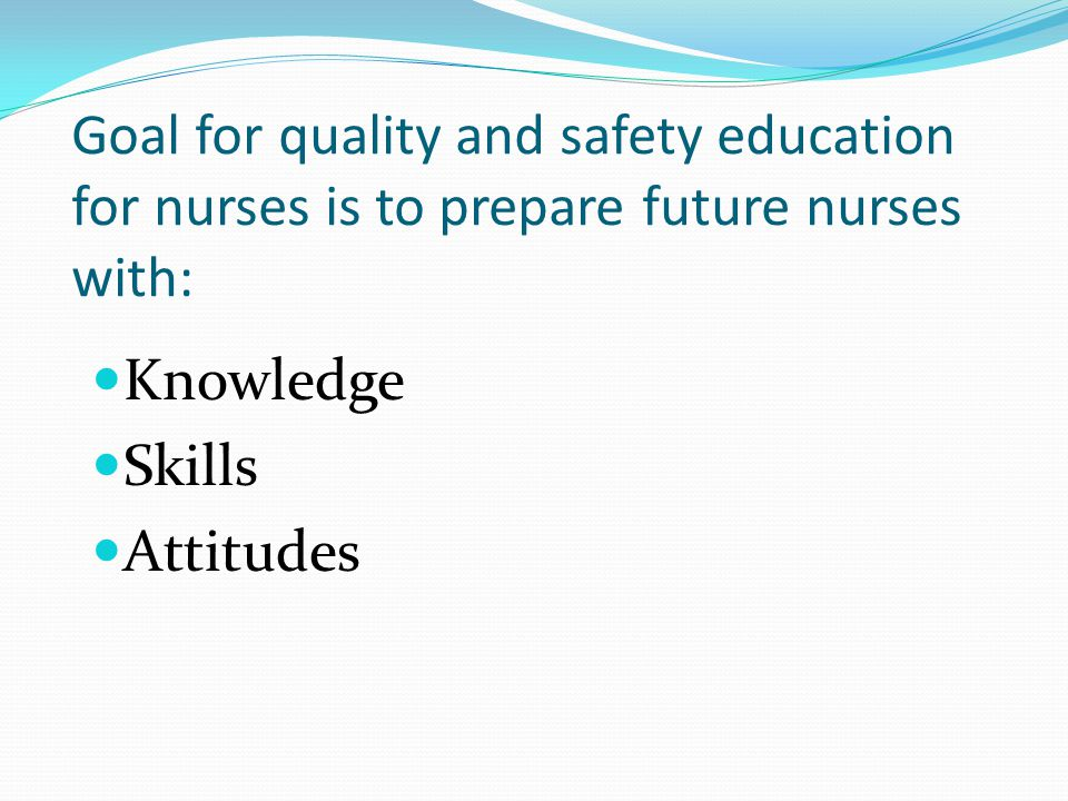 Goal for quality and safety education for nurses is to prepare future nurses with: Knowledge Skills Attitudes