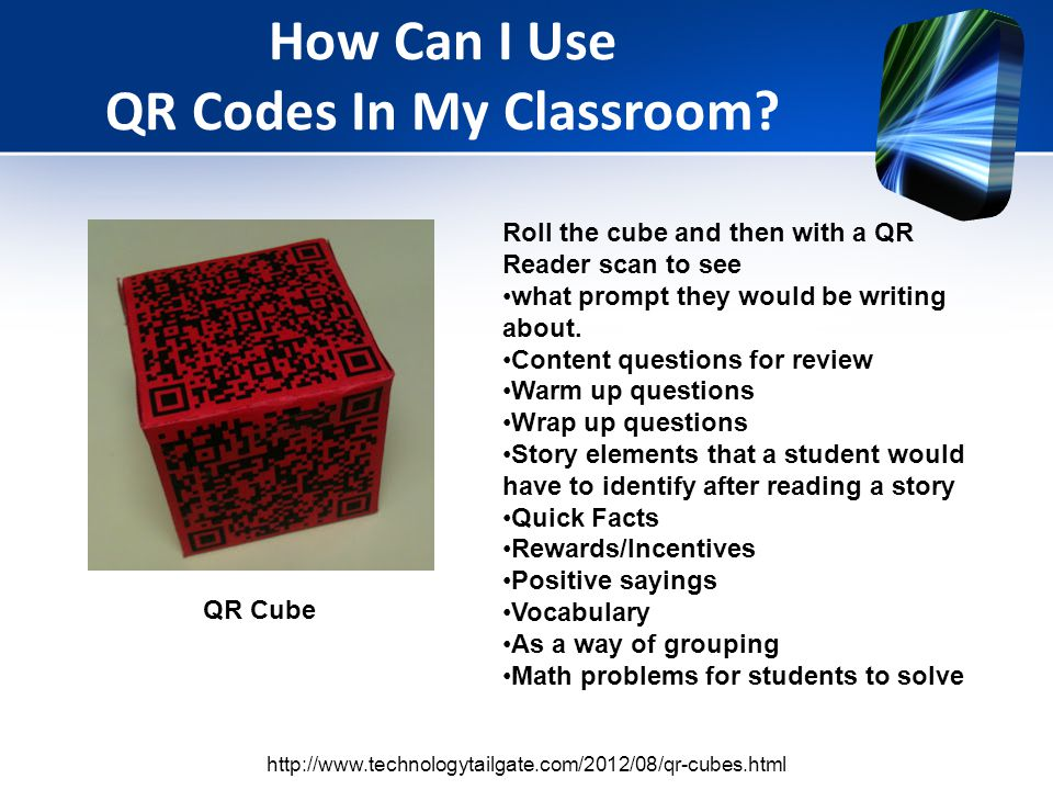 Roll the cube and then with a QR Reader scan to see what prompt they would be writing about.