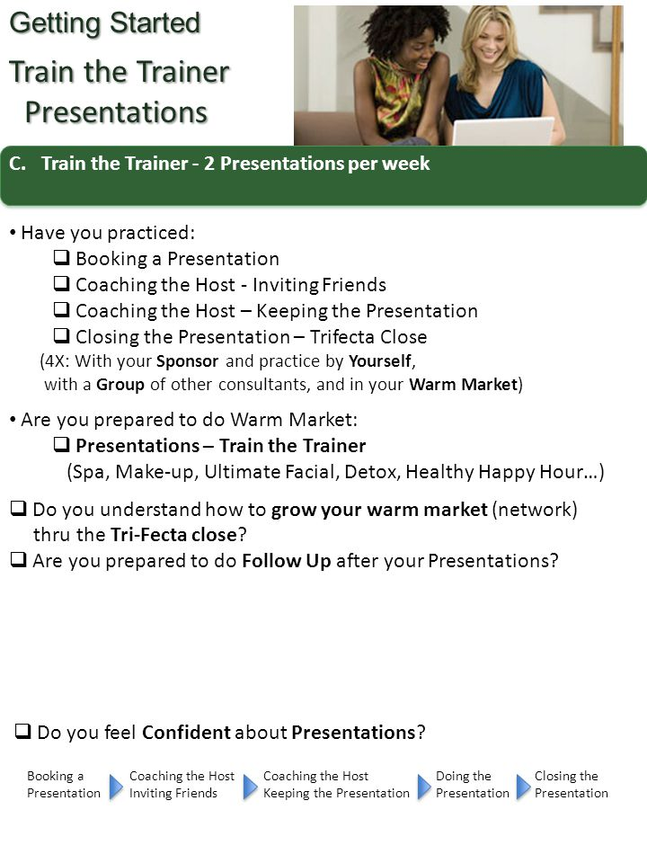 C.Train the Trainer - 2 Presentations per week Getting Started Train the Trainer Presentations Presentations Have you practiced:  Booking a Presentat