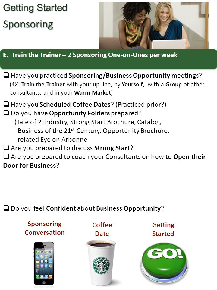 E. Train the Trainer – 2 Sponsoring One-on-Ones per week Getting Started Sponsoring  Have you practiced Sponsoring/Business Opportunity meetings? (4X
