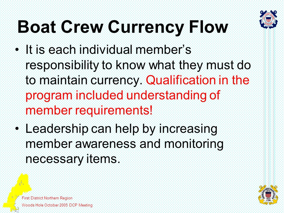 First District Northern Region Woods Hole October 2005 DCP Meeting Boat Crew Currency Flow It is each individual member's responsibility to know what