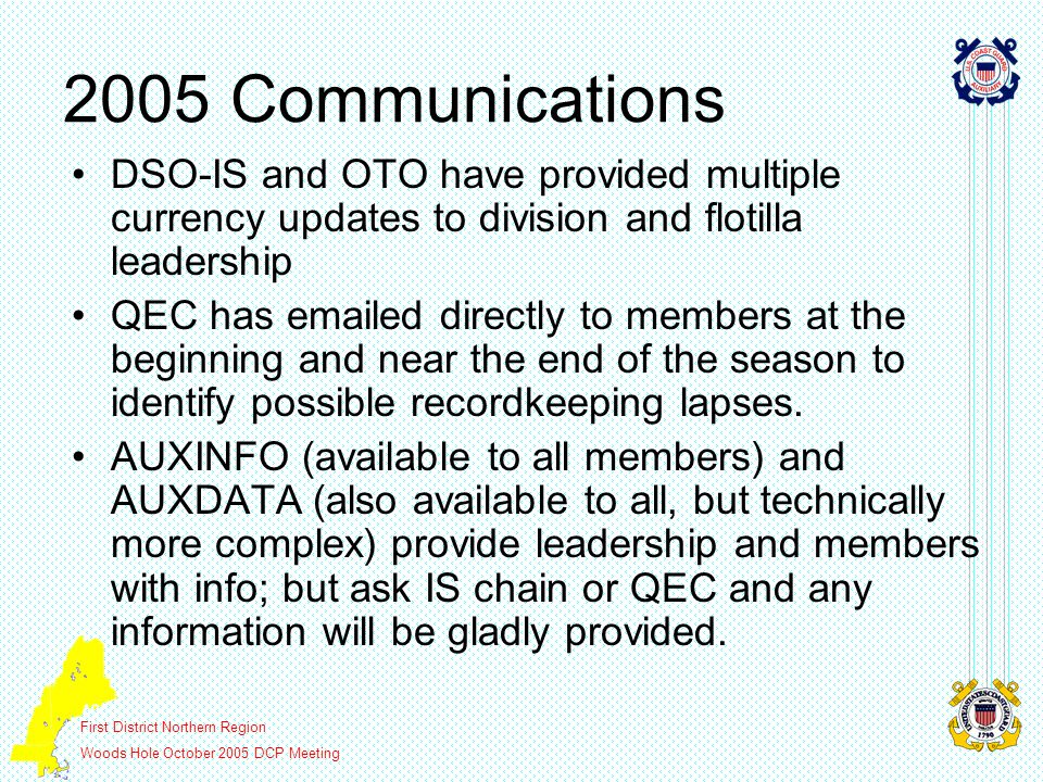 First District Northern Region Woods Hole October 2005 DCP Meeting 2005 Communications DSO-IS and OTO have provided multiple currency updates to divis